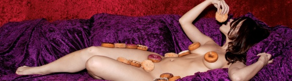 Nude on Couch with Doughnuts