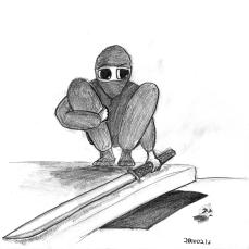 Bob the Ninja Crouching