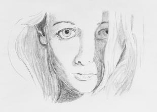 Face Sketch Half in Shadow